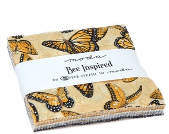 "15% off thru Mar.19th charm pack BEE INSPIRED moda 42 5"" squares cotton fabric bees butterflies, gold black and cream Deb Strain 19790pp"