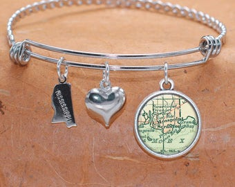Mosspoint MS Map Charm Bracelet State of Mississippi Bangle Cuff Bracelet Vintage Map Jewelry Stainless Steel Bracelet Gifts For Her
