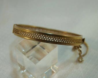 Rare Miriam Haskell Gold Open Mesh Bangle Bracelet