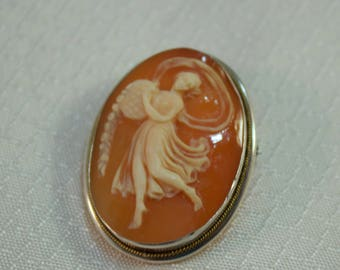 Vintage 800 Silver Carved Cameo Pendant/Brooch, Walking Muse Came Brooch