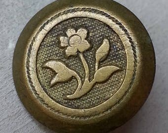 Rare Antique Jacksonian Era Brass Waistcoat Picture Button ~ Single Flower Posy with Leaves Pictorial ~ 9/16 inch 14mm ~ Grammys Buttons