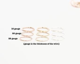 Thin Hoop Cartilage - Cartilage Piercing Earrings - Endless Hex Helix Hoops - 6mm 8mm 10mm Hoops - Cartilage Hoop - Endless Hoop Earrings