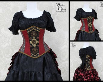Steampunk Renaissance Black, Burgundy, Pewter, & Rust Steel Boned Corset -- You Choose Your Corset Style -- Custom Sized