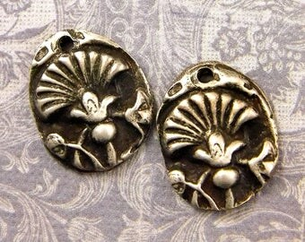 Fan Flower - Rustic Pewter Charms - Hand Cast Pewter - Flower Jewelry Components