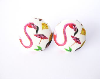 Tropical fabric covered button earrings with flamingo and parasol