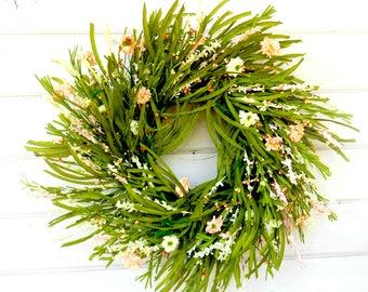 Summer Wreath-PEACH Wreath-Twig Wreath-Spring Door Wreath-Farmhouse Wreath-Summer Wedding Decor-Housewarming Gift