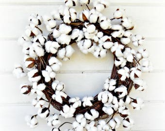 Cotton Wreath-Farmhouse Style-Fixer Upper Decor-Rustic Farmhouse Decor-Front Door Wreath-Rustic Wreaths-Summer Wreath-Fall Wreath-Gifts