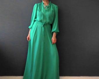 70s Spearmint Green Chiffon Boho Maxi Dress Small