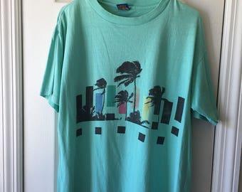 80s Ocean Pacific Montabert XL Tee Shirt Teal Palm Trees Rainbow Graphic Tshirt Surfer Unisex