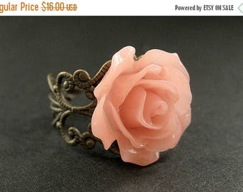 SUMMER SALE Coral Peach Rose Ring. Peach Flower Ring. Filigree Ring. Adjustable Ring. Flower Jewelry. Handmade Jewelry.