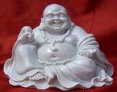 Chinese Style Buddha in Powdered Marble. Handmade.