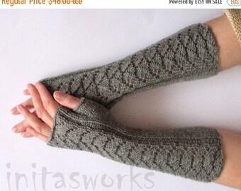 "Fingerless Gloves Long Dark Gray 14"" Mittens Arm Warmers, Acrylic Wool"