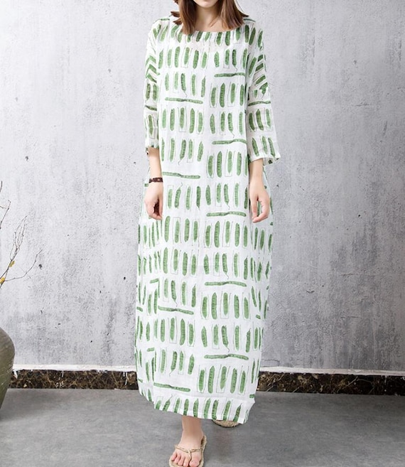 Linen large size green Long dress Loose print gown
