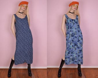 90s Reversible Floral Print Dress/ Medium/ 1990s