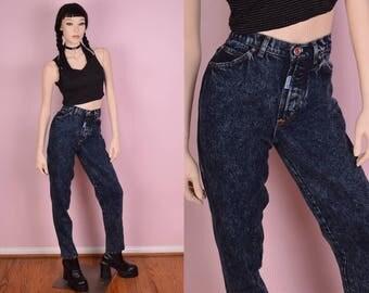 80s Acid Wash High Waisted Jeans/ 28 Waist/ 1980s/ Vintage/ Mom Jeans/ Slim Fit/ Denim