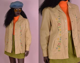 70s Floral Embroidered Faux Leather Jacket/ Medium/ 1970s