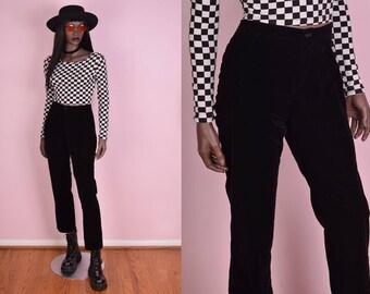 90s Black Velvet Pants/ 29 Waist/ 1990s