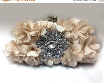 Wedding clutch, formal evening bag,  bridesmaid clutch, vintage inspired clutch, bridesmaid bag, champagne ruffle clutch
