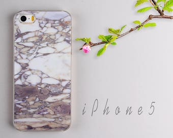 Clear iPhone 5s case iPhone SE cover iPhone 5 skin Marble Pattern PC Plastic Protector - HTPC509
