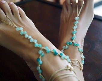 Gemstone Barefoot Sandals, Aquamarine Barefoot Sandals, Boho Anklets , 1 Pair