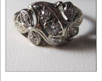 Antique 14k Mine cut Diamond Cluster Dinner or Engagement Ring
