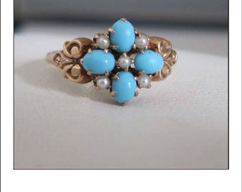 Antique 14k Victorian Turquoise Pearl  Ring