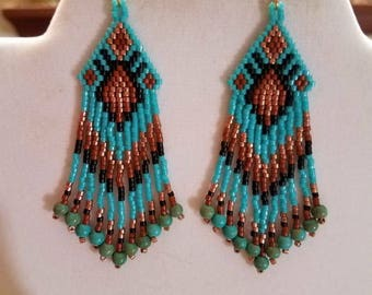 Native American Style  Turquoise, Copper, Siena  and Black Earrings Southwestern Bohemians Peyote, Gypsy, Brick Stitch, Great Gift