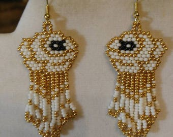 Native American Style Beaded Gold and White Rose Pierced Earrings Southwestern, Peyote, Brick Stitch, Gyspy, Fringe, Handmade, Ready to Ship