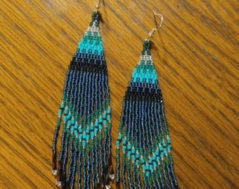 Native American Style Beaded Turquoise Earrings Shoulder Duster Boho, Southwestern, Hippie 7 inch Brick Stitch, Belly Dancer, Gypsy Gift