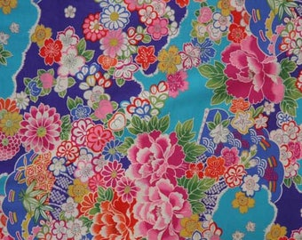 Fabric collection Nagarebena blue floral pattern - 50cm