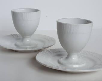 Egg Cups with Saucer Basket Weave Vintage