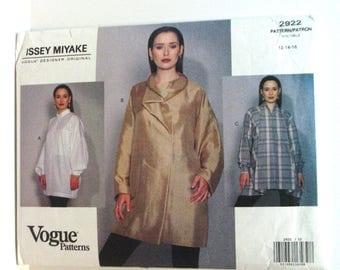 Vogue 2922 free shipping US Issey Miyake 3 great shirts/tops/blouses sewing pattern uncut 12 14 16 vintage 1992