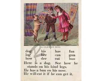 Instant Download Printable Art, Victorian, ABCs, McLoughlin Print, Boy and Girl, Child, Pug Dog, Children's Book, Wall Art Decor, Digital