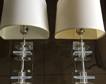 Vintage Lucite Wall Sconces, Pair