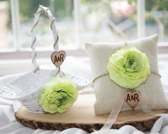 Small Flower girl basket and ring bearer pillow with hemp and silk flowers of your choice