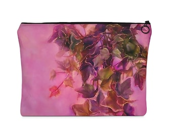 Plush Rosy Pink Hanging Ivy Carry All Pouch  Flat