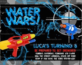 Water Wars invitation, Splash Party, Water Squirt Gun Invite