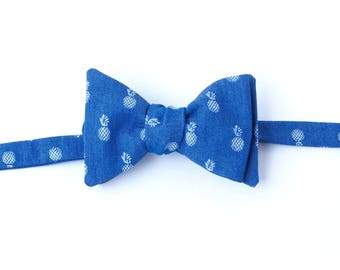 Pineapple Chambray Bow Tie