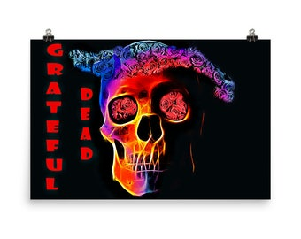 Grateful Dead Florescence, Red Skull, Red Roses, Dead Heads, Keep Trucking, Rock Icons, Museum Quality Poster Print