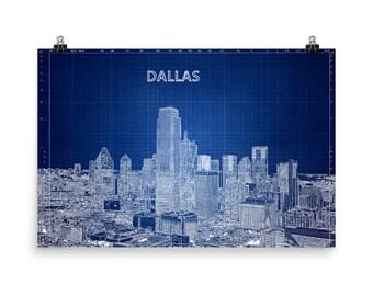 Dallas Skyline, Blue Print, Texas, Blueprint Blue, Oil, Cowboys, Museum Quality Poster Print