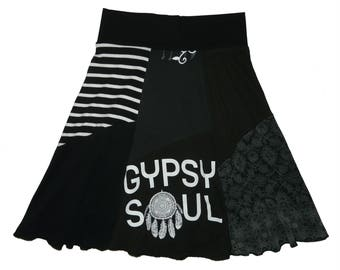 Gypsy Soul Upcycled Skirt Women's Small Medium Boho Skirt Hippie Skirt upcycled recycled tshirt clothing Size 4 6 Twinkle Skirts Twinklewear