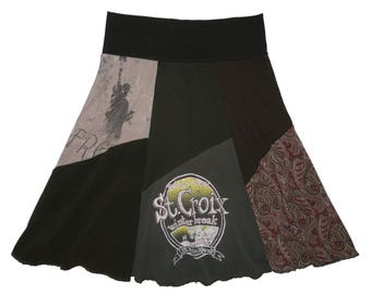 Upcycled Skirt Women's Small Medium Boho Skirt Hippie Skirt T-Shirt Skirt recycled clothing Repurposed clothing Twinkle Skirts Twinklewear