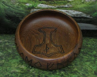 Asatru Blot Bowl: Mjolnir, Blot Blessing Bowl, Norse Bowli, Asatru Ritual Bowl, Asatru Blessing Bowl, Viking Blessing Bowl, Viking Bowli