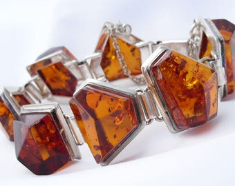Amber Bracelet in Sterling Silver -   Contemporary Design - Fine Studio Jewelry