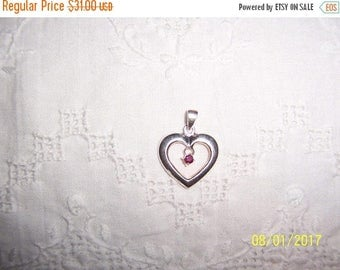 TWICE A YEAR, 25% Off Vintage Ruby Heart pendant. Sterling silver.
