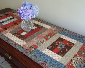 Quilted Table Runner, Table Centerpiece in French Vintage-inspired fabric
