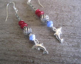 sterling siver dolphin earrings, long red coral tropical earrings, made in Hawaii