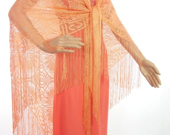 Beautiful Large Genuine 70s Bright Coral Lacey Shawl/Wrap With Tassel Hem