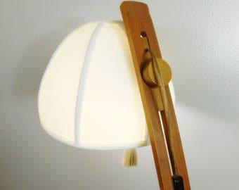 Vintage 1960s MCM Temde Leuchten adjustable floor lamp with original shade