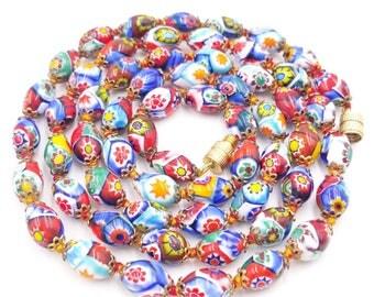 Millefiori Glass Bead Necklace, Murano Art Glass Beads, Venetian Glass Bead Necklace, Hand Knotted Italian Glass Necklace, Oval Millefiori